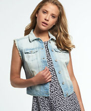 New Womens Superdry Jaclyn Denim Vest Jacket Stonewash Blue