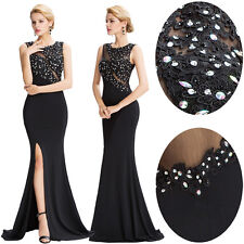 Women Sexy Bead Long Evening Ball Gown Pageant Cocktail Formal Prom Party Dress
