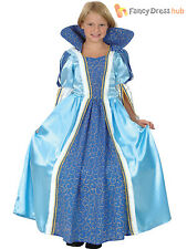 Childs Blue Princess Costume Girls Fairy Tale Fancy Dress Kids Book Week Outfit