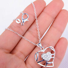 Cute 925 Sterling Silver Hollow Heart Pendant + Chain Necklace Jewelry H861