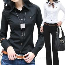 Womens Office Blouse Collar button Shirt ladies vintage Business Top Size VANCY