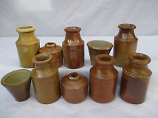 10x SMALL STONEWARE EARTHENWARE SALTGLAZE INK BOTTLES INK POTS c1900