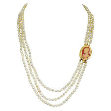 "Fine 19/20"" Long 3 Line Real Japanese Cultured Pearl Necklace with Ruby SN774"
