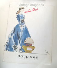 Bourjois Mais Oui vintage perfume advert, 1940s 1950s ad, scent bottle picture