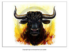 PO3351 Poster Print illustration furious bull ANIMAL Art