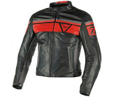 Chaqueta Dainese Blackjack cuero negro rosso black rojo humo moto leather jacket