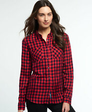 New Womens Superdry Super Classic Boyfriend Shirt Coral Gingham