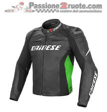 Chaqueta Dainese Racing D1 cuero negro verde black verde moto leather jacket