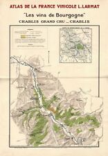 BURGUNDY BOURGOGNE WINE MAP Chablis appellations vineyards vignobles LARMAT 1942