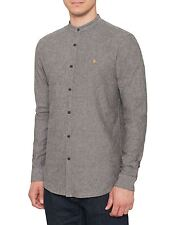 FARAH VINTAGE MENS THE STEEN GRANDAD GREY COLLAR SHIRT AW16 CASUALS L/S