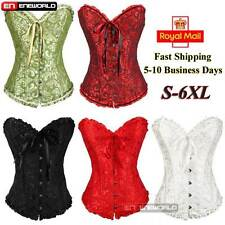 Sexy Woman Lace Boned Bustier Basque Floral Corset Lingerie Thong Plus Size UK
