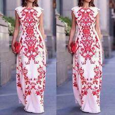 UK Boho Vintage Floral Print Women Summer Long Maxi Evening Party Clubwear Dress