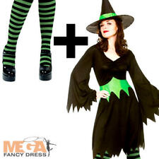 Wicked Witch + Striped Tights Ladies Fancy Dress Halloween Adults Womens Costume