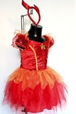 HALLOWEEN GIRLS RED FLAME DEVIL FAIRY WITCH FANCY DRESS COSTUME AGE  3-4