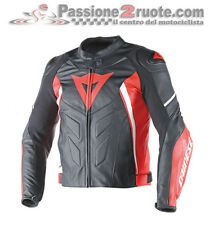Dainese Avro D1 Giacca pelle racing sportiva nero rosso bianco 678
