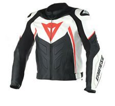 Giacca pelle moto racing sportiva Dainese Avro D1 nero bianco rosso i96