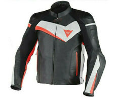 Dainese Veloster black white red moto leather jacket
