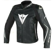 Dainese Assen black white moto leather jacket