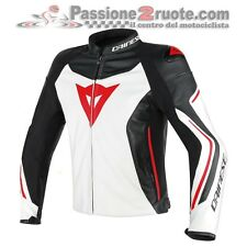 Giacca moto in pelle Dainese Assen bianco nero rosso G27