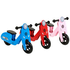 Charles Bentley Wooden Vespa Scooter Wooden Balance Bike Age 3+ Red /Pink/ Blue