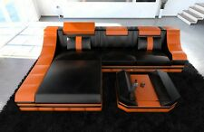 Desingcouch Luxury Leather sofa TURINO L-Shape with LED light Corner couch black