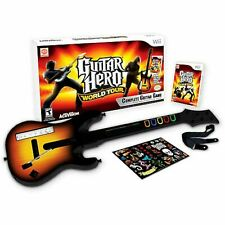 Nintendo Wii/Wii-U Guitar Hero WORLD TOUR Guitar Kit Bundle set video game disc
