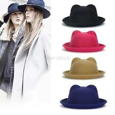 Women Lady Wool Horn Parent-Child Bowler Fedora Hat Derby Horn Devil Cat Ear Cap