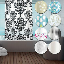 Modern Fabric Hookless Ring Top Shower Curtain - For Bathroom - 180 X 184Cm Long
