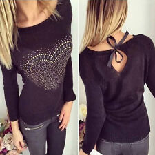 Mode Femme LOVE Manche Longue Épaule Nue Pull Tricot Pulls Pull-over