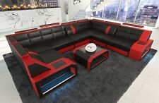 Leather Sofa Corner Couch Sofa Set Pesaro XLL U-Shaped+LED Lighting Black Red