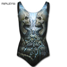 Spiral Direct Black Gothic Swimsuit FLAMING SPINE Skull Flame All Sizes
