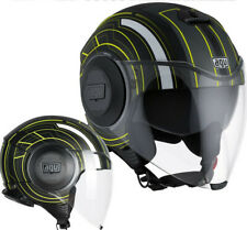 Casco jet Agv Fluid Chicago negro amarillo black amarillo moto