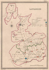 LANCASHIRE antique county map by CREIGHTON/WALKER. Electoral 1835 old