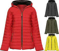 Womens Plus Puffa Padded Coat Jacket Ladies Hooded Zip Long Sleeve Lined Pocket