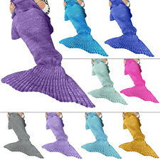 Adult Girl Fish Tail Blanket Crochet Cocoon Handmade Knitted Mermaid Blankets