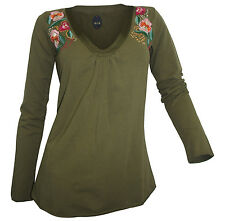 Nolita Sweatshirt 34 36 38 40 42 khaki Sweat-Tunika Stickerei Longshirt