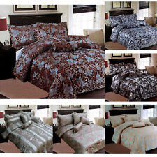 6 Pce - Jacquard QUEEN Size Comforter + 2 Std Pillowcases + 3 Filled Cushions