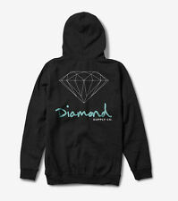DIAMOND Supply felpa cappuccio zip Og Sign nera black hoodie skateboard zipped