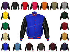 Faux Leather Sleeve Letterman College Varsity Women Wool Jackets #BSL-RSTR-RB