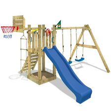 WICKEY Sunshine Duo Sports Spielturm Basketball Kletterturm Rutsche Sandkasten