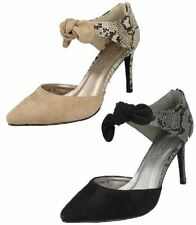 Ladies Spot On F9746 Snake Print Microfibre Court Shoes Style ~ K