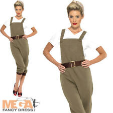WW2 Land Girl Ladies Fancy Dress 1940s 30s World War II Womens Adult Costume New