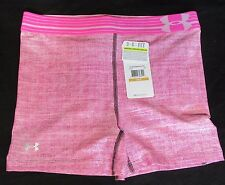 """Womens UA Under Armour Pink Fitted Compression shorts Fitness Sports 3"""" Small"""