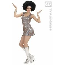 Ladies Womens Holographic 70s Disco Diva Costume Outfit for 60s Fancy Dress