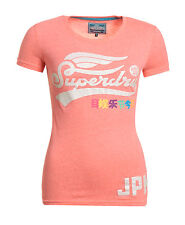 New Womens Superdry High Flyers Rainbow T-shirt Phosphorescent Coral