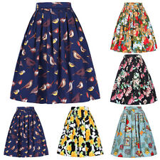 Womens Vintage Skirt Retro 40s 50s STYLE Skater Pleated full Circle Pin up Dress