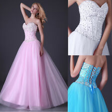 Women Sexy Bead Quinceanera Ball Gowns Pageant Evening Party Cocktail Prom Dress