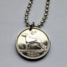 Ireland 6 pence coin pendant Irish necklace DOG lover hound greyhound n000120