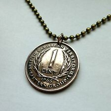 UK British East Caribbean States 1 cent coin pendant necklace jewelry