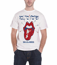 The Rolling Stones T Shirt Tour Of The Americas logo new Official Mens White